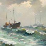 Richard Uutmaa. Trawlers on Fishing. 1947. Art Museum of Estonia